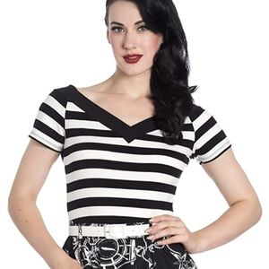 Hell Bunny Caitlin Striped Top, Small